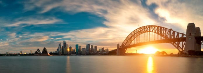 Sun setting behind bridge in Sydney