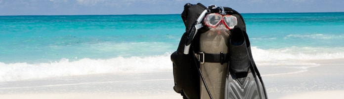 Scuba gear by the beach