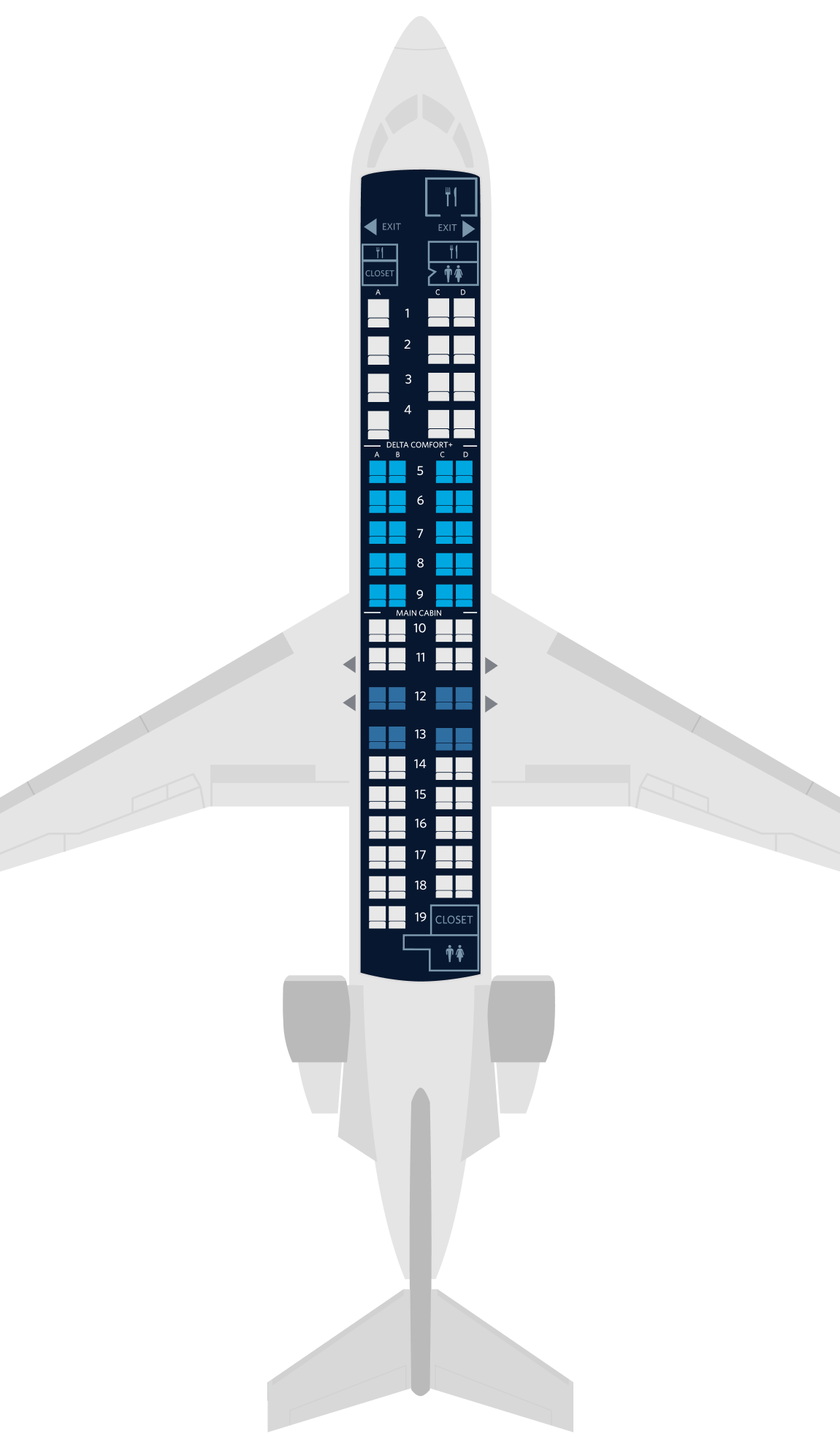 无线网络_庞巴迪CRJ-900飞机座位地图、规格和服务设施:达美航空公司