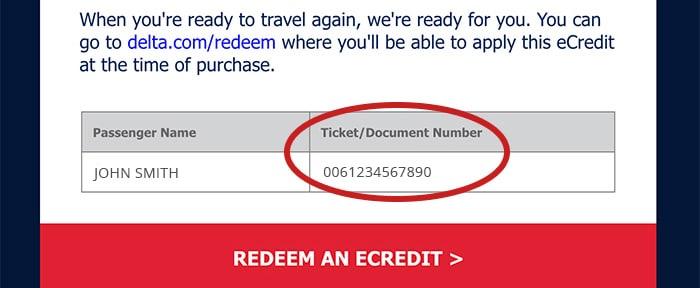 找出機票號碼的螢幕截圖