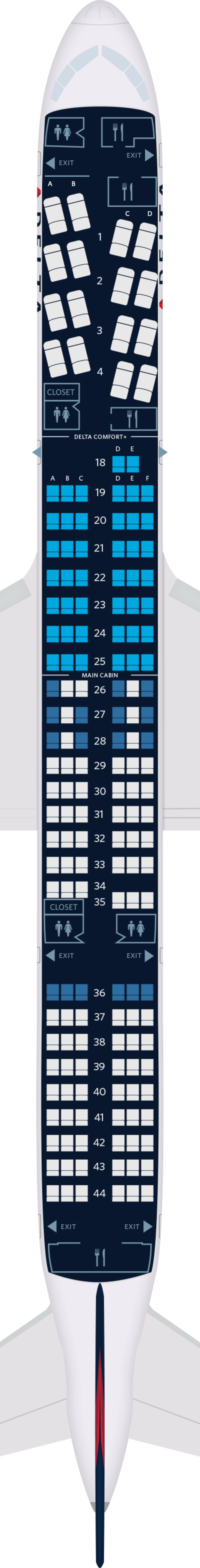 Boeing 757-200 Aircraft Seat Maps, Specs & Amenities : Delta
